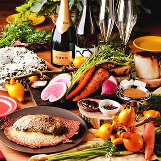 オーガニック野菜の数々を飲み放題付きコースでご堪能ください!