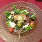 58802391 - 大分中津産鹿肉のパテ・リンゴのソース