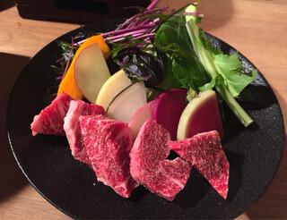 粟 ならまち店 - 大和牛のリブロースと大和野菜