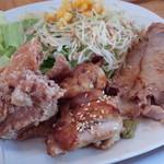 58832928 - 鶏の唐揚げ・鶏の柚子胡椒焼き・豚の生姜焼き
