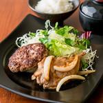 熟成黒毛和牛ハンバーグと豚の生姜焼きランチ(平日限定)