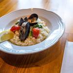 糸島バールSyana - 「ムール貝とエビのリゾット」(1,200円)。最高に美味しかった!