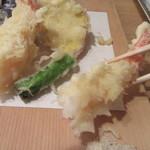蕎麦切 砥喜和 - 海老天を藻塩で