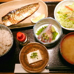 個室馳走屋 海音 - 胡麻サバと塩サバ定食¥850。ご飯は雑穀米をチョイス。かなりお値頃感のあるメニューです。