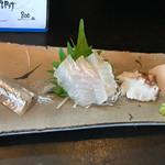 58854244 - お刺身の盛り合わせ❗️サヨリは一切れ食べてしまいました❗️左からサヨリ ヒラメ 生タコ カレイ❗️
