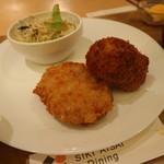 四季愛菜ダイニング - じゃがいもコロッケ+チキンクリームコロッケ