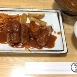 豚竹林 - 名物とんかつ (ヘレ) (デミソース)  ¥1,150 セット (小ライス・珍味スタミナスープ・漬物)  ¥450
