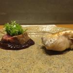かま田 - 焼物 甘鯛酒塩焼と阿波牛柚子味噌敷いて