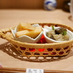 58870776 - 「お通し」                           茄子味噌炒め、筍煮