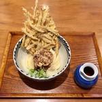 増田うどん - 増田肉ぶっかけ冷800円、牛蒡天180円です。
