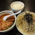 桃天花 - 坦々つけ麺(辛口)+小ごはん 標準と見た目変わらず