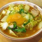 井の頭ナムチャイ - 『天理スタミナラーメン』+生卵トッピング。一杯で白菜が200g摂れるヘルシーメニュー。