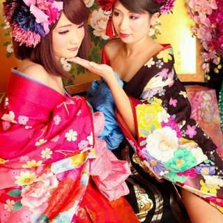 花魁衣装のスタッフが和空間でおもてなし♪