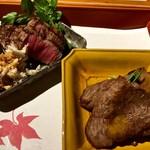 58917972 - ■肉料理:岩手牛 ヒレ肉ロースト 山わさび、ロース 芽葱巻