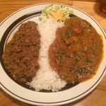 ダメヤ - エビとトマトのカレー+キーマカレー