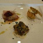 La cucina del Covo - 前菜3種(カンパチ、公魚のフリット、鶏のパン粉香草焼き)