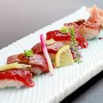 越中鮮魚居酒屋 かざくら - 馬肉寿司5種