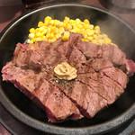 58973408 - ワイルドステーキ 300g (ライス、サラダ、スープ付き)1350円 ランチ ライス抜き−100円
