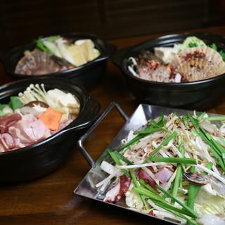 地鶏と魚介の旨みがたっぷり、名物4大鍋+自慢のもつ鍋(麺付)