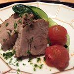 つる家 花陽 - 豚肉とろとろ煮込み 雑穀、青梗菜とトマトのソテーを添えて 15.11月