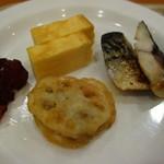 ホテルルートイン - 玉子焼き、塩鯖、蓮根揚げ、芝漬け