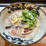 築港麺工房 - 温玉豆乳カルボナーラ 大盛り