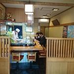 千種鮨 - 千種鮨 @目黒 店内 手前左右に4席のテーブルが1卓づつ置かれます