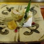 天ぷら 松 - 賀茂茄子で海老を挟んだ揚げ物