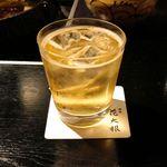 花大根 - その後は、甘くてスッキリした山崎梅酒ソーダ割り700円で口内をスッキリ!