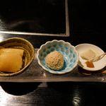花大根 - 最後はスイーツ3点盛りが登場!特に中央の栗アイスがホクホク感満点で絶品でした。