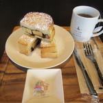 イセタン羽田ストア カフェ - チョコバナナトーストドリンクセット 850円
