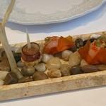59049414 - アミューズ(鴨肉、甘海老、フォアグラを使った三種)