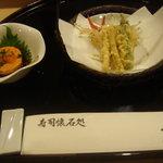 5906517 - 天ぷらは冷えてましたがあん肝は美味しい物でした。