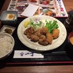 魚や一丁 - 牡蠣フライとザンギ定食