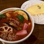 CHUTTA! - チーオム&角切りベーコン+納豆(ラトゥースープ辛さ5番)1180円