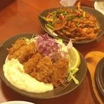 モンブラン 浅草店 - カキフライ(ハーフ)と豚キムチ