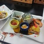 ゆふいん湯めぐりホテル 山光園 - ■前菜:鰻の蒲焼き、セセリの南蛮、蕎麦米、海月梅肉和え、山芋素麺