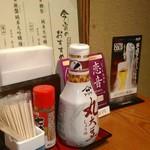 地酒とそば・京風おでん 三間堂 - [内観] 店内 テーブル席 卓上調味料類 ②