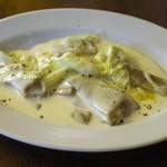 """goffo - タレッジョチーズとキャベツのクリームソース・そば粉のパスタ """"ピツォッケリ"""""""