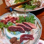 Yamagishi - 坂網鴨のもも肉、胸肉、ささみ、骨団子