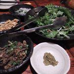59104849 - ・くろかわさん(鶏皮焼き)                       ・スナックエビカレー味                       ・小松菜とシラスの和え物                       ・水菜のサラダ