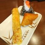 丸亀製麺 - ちくわ天♥いなり♥明太子のおにぎり♥(*≧∀≦*) 定番のトッピング♥