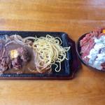 アンジェロ - ローストビーフ丼(大)+ステーキ(200g)セット【料理】