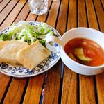 59120245 - スープ(ミネストローネ)、パン、サラダ