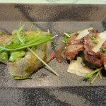 5913918 - 前菜、ヒラマサのカルパッチョと国産牛グリル