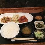 Kaito - アジフライと豚肉生姜焼の盛り合わせランチ(980円)