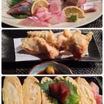 彩懐 - 料理写真:天然魚の刺盛、軽い衣の鳥天、出汁巻