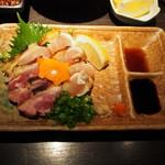 鶏天 - 淡海地鶏モモ・ムネタタキセット 人参の亀が可愛い