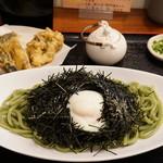 うどん sugita - のりぶっかけ(1100円) と天ぷら(まいたけ、なす・各100円)