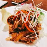 本格四川料理 三鼎 - 『ハチノスと唐辛子・山椒の和物』様(980円)ハチノスのコリッとした食感が何と言うかこの切り方からか大動脈のように食感で楽しめる♪